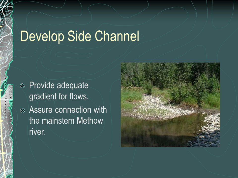 Develop Side Channel Provide adequate gradient for flows. Assure connection with the mainstem Methow river.
