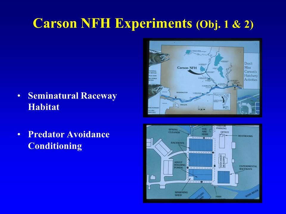 Carson NFH Experiments (Obj. 1 & 2) Seminatural Raceway Habitat Predator Avoidance Conditioning