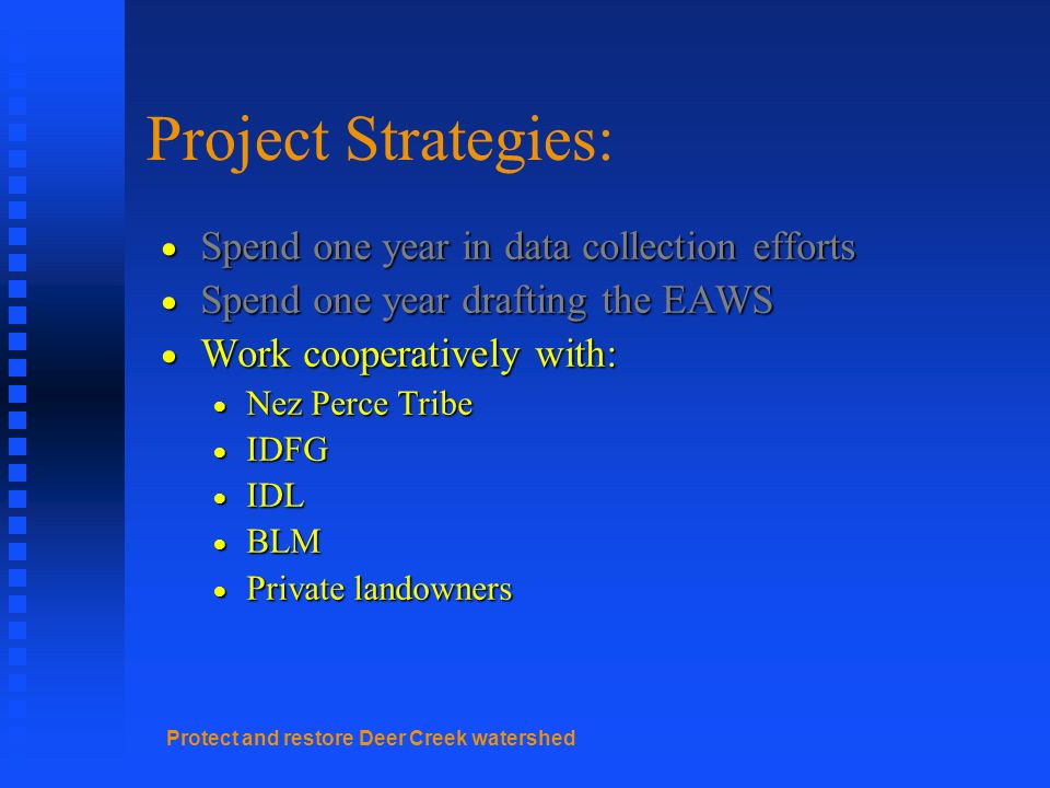Protect and restore Deer Creek watershed Project Strategies: Spend one year in data collection efforts Spend one year in data collection efforts Spend one year drafting the EAWS Spend one year drafting the EAWS Work cooperatively with: Work cooperatively with: Nez Perce Tribe Nez Perce Tribe IDFG IDFG IDL IDL BLM BLM Private landowners Private landowners