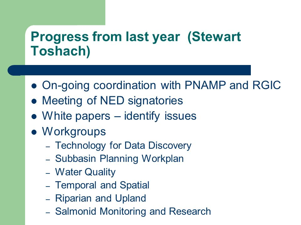 Progress from last year (Stewart Toshach) On-going coordination with PNAMP and RGIC Meeting of NED signatories White papers – identify issues Workgroups – Technology for Data Discovery – Subbasin Planning Workplan – Water Quality – Temporal and Spatial – Riparian and Upland – Salmonid Monitoring and Research