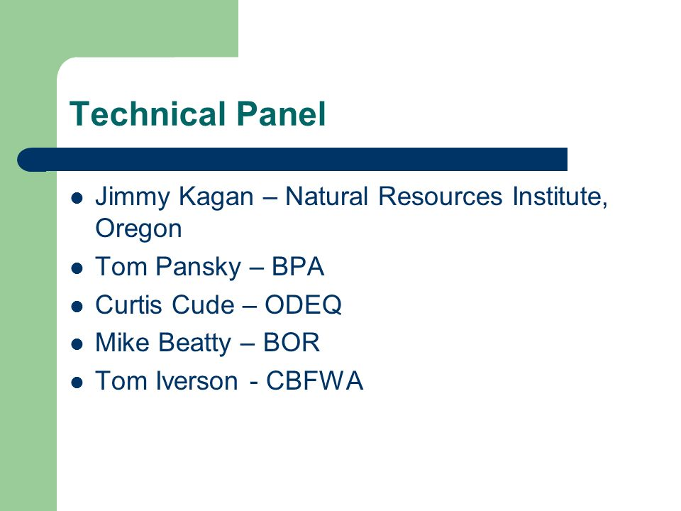 Technical Panel Jimmy Kagan – Natural Resources Institute, Oregon Tom Pansky – BPA Curtis Cude – ODEQ Mike Beatty – BOR Tom Iverson - CBFWA