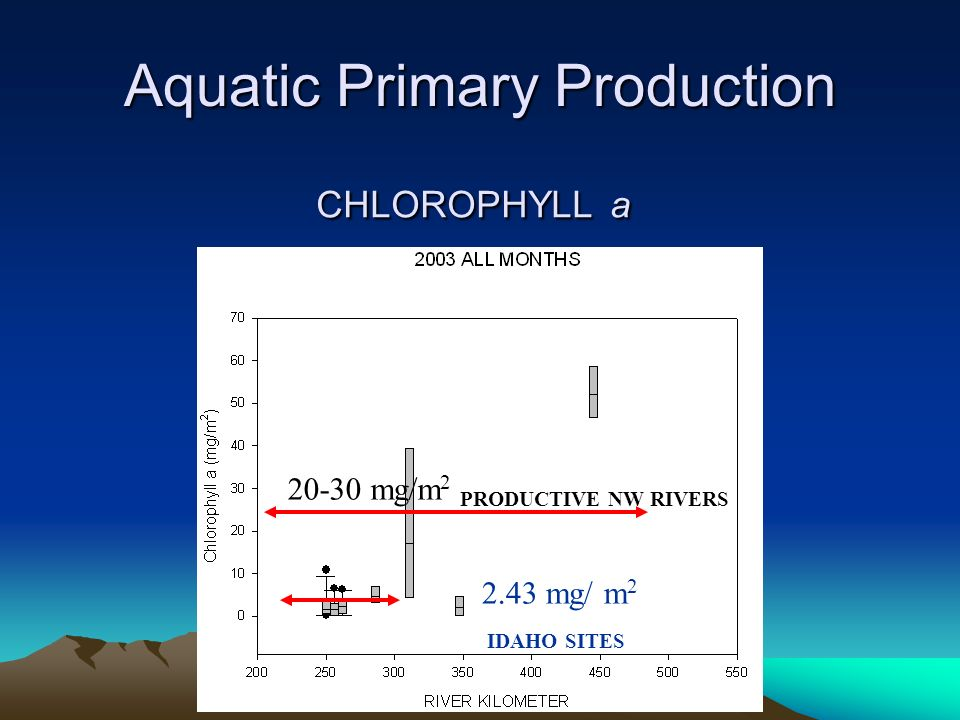 CHLOROPHYLL a 20-30 mg/m 2 PRODUCTIVE NW RIVERS 2.43 mg/ m 2 IDAHO SITES Aquatic Primary Production