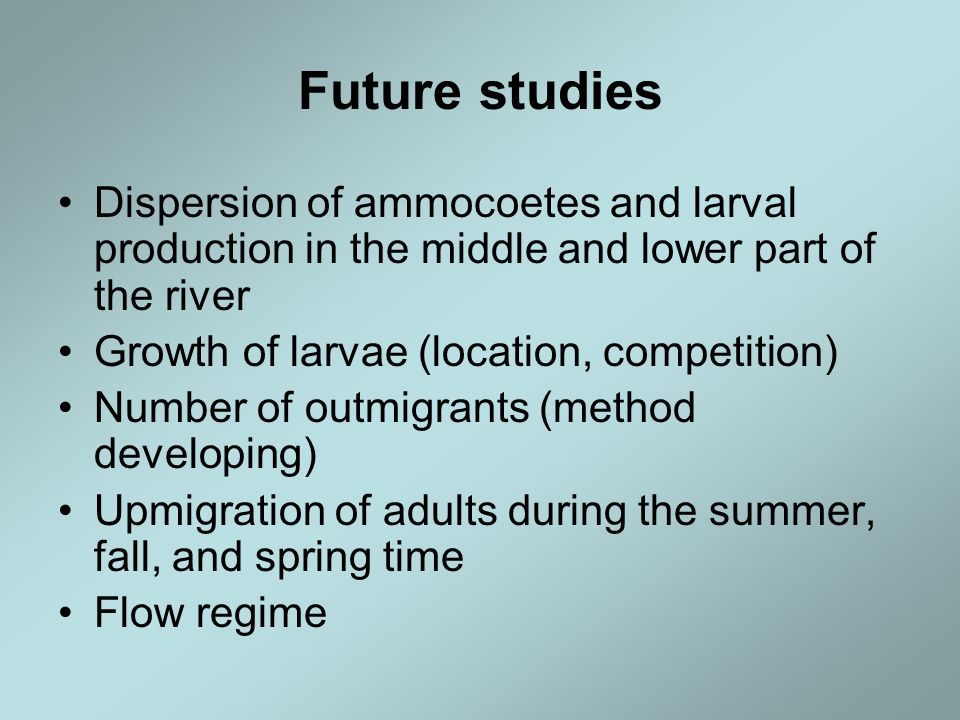 Future studies Dispersion of ammocoetes and larval production in the middle and lower part of the river Growth of larvae (location, competition) Numbe