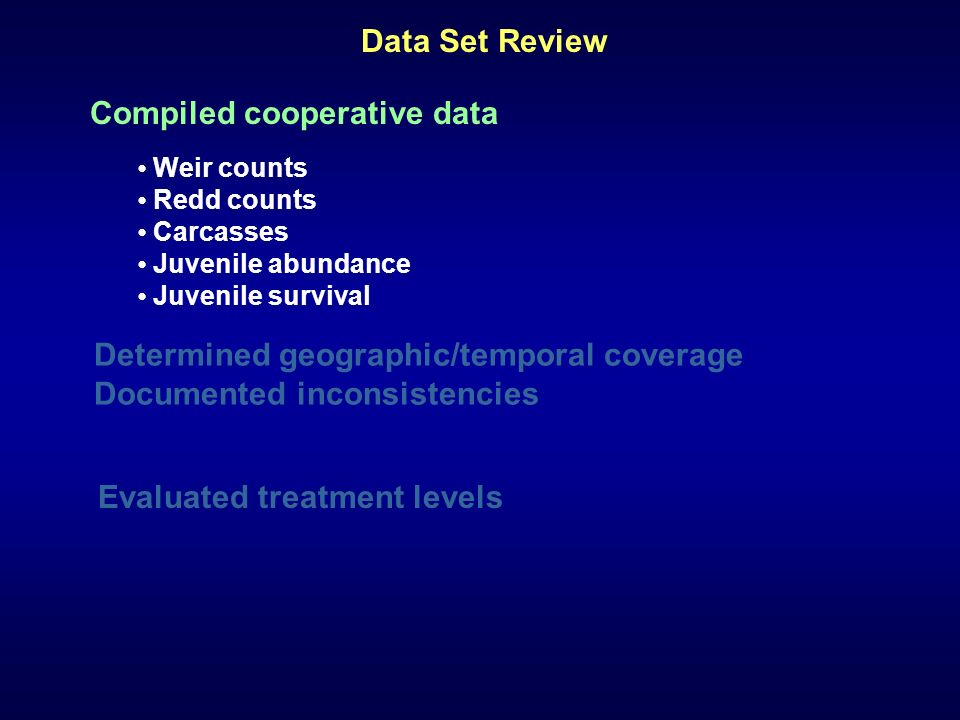 Determined geographic/temporal coverage Documented inconsistencies Compiled cooperative data Weir counts Redd counts Carcasses Juvenile abundance Juvenile survival Data Set Review Evaluated treatment levels