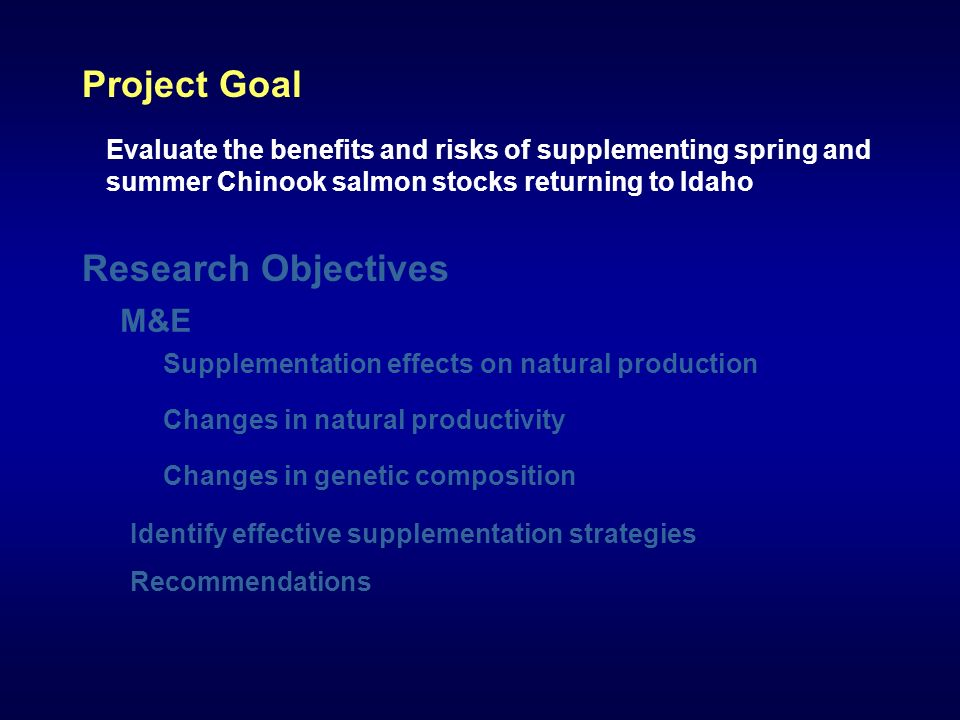 Evaluate the benefits and risks of supplementing spring and summer Chinook salmon stocks returning to Idaho Project Goal Supplementation effects on natural production Changes in natural productivity Identify effective supplementation strategies Recommendations Research Objectives Changes in genetic composition M&E