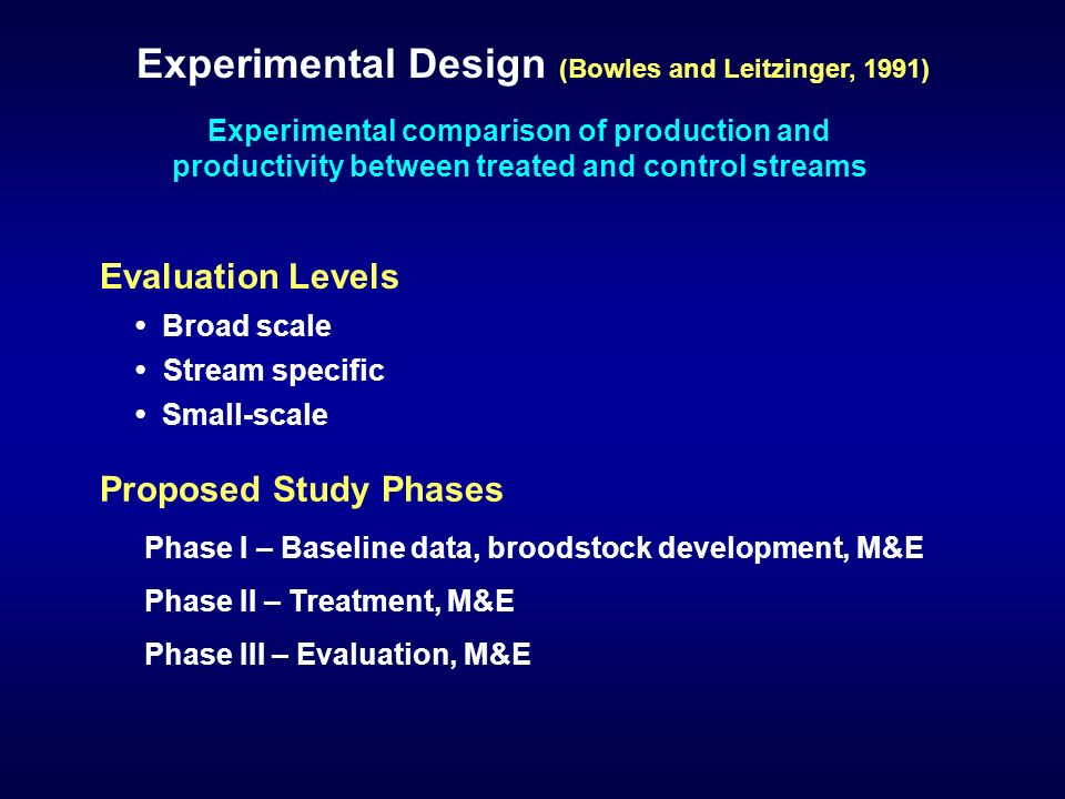 Experimental comparison of production and productivity between treated and control streams Experimental Design (Bowles and Leitzinger, 1991) Evaluation Levels Stream specific Broad scale Small-scale Phase I – Baseline data, broodstock development, M&E Phase II – Treatment, M&E Phase III – Evaluation, M&E Proposed Study Phases