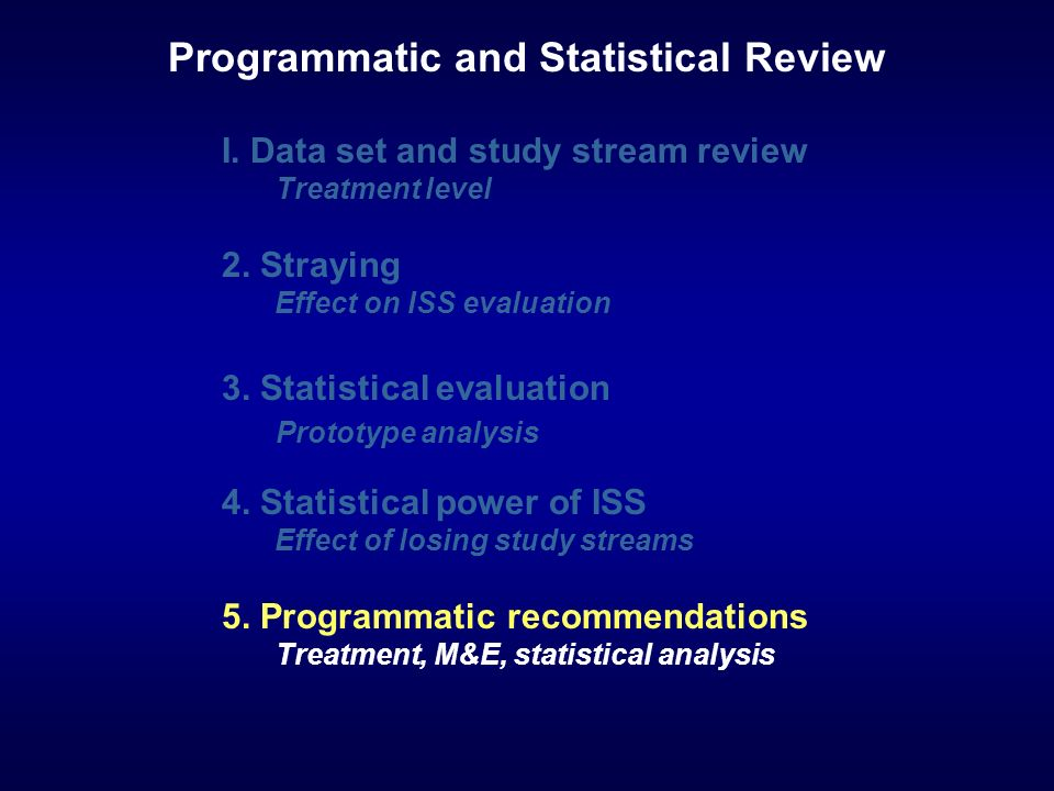 I. Data set and study stream review Treatment level 2. Straying Effect on ISS evaluation 3. Statistical evaluation Prototype analysis 4. Statistical p