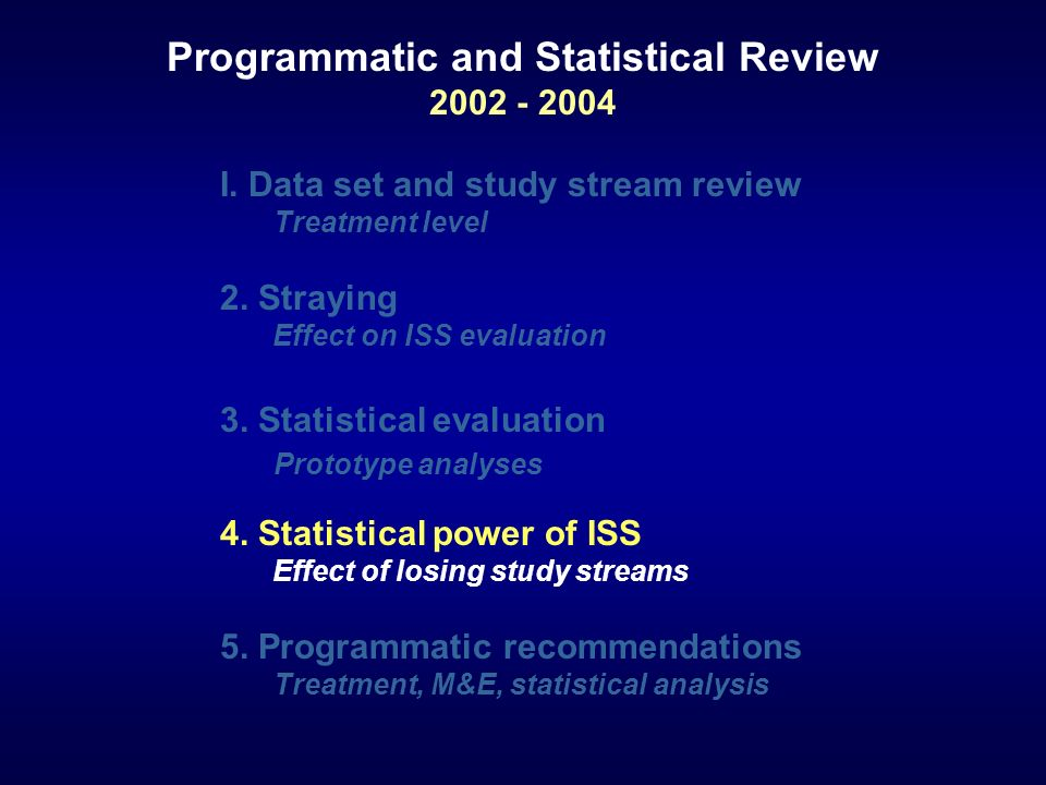 I. Data set and study stream review Treatment level 2. Straying Effect on ISS evaluation 3. Statistical evaluation Prototype analyses 4. Statistical p