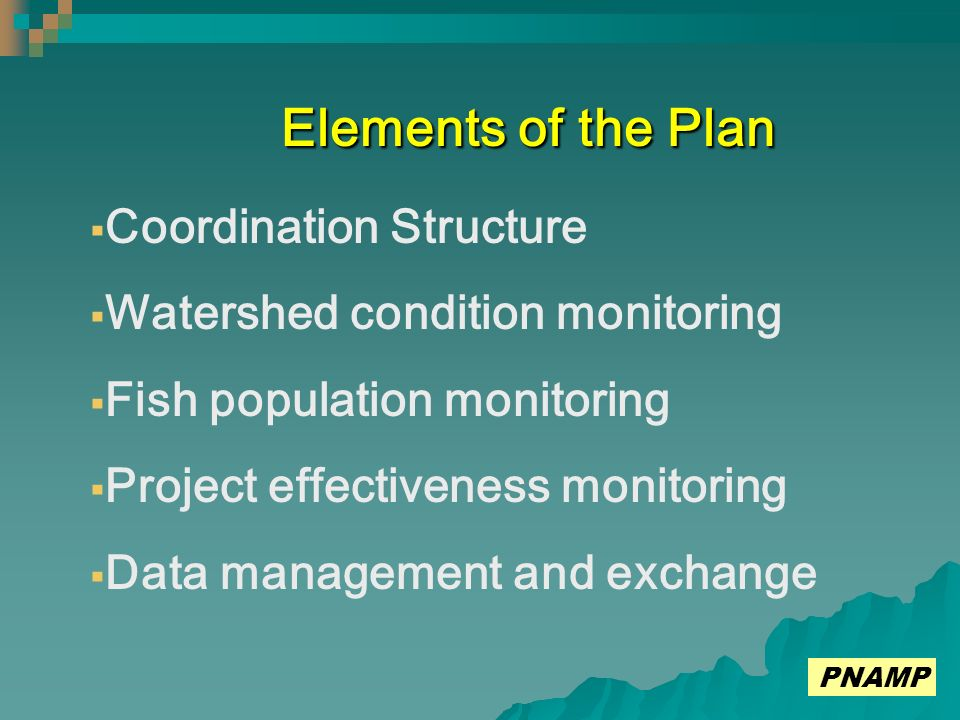 Elements of the Plan Coordination Structure Watershed condition monitoring Fish population monitoring Project effectiveness monitoring Data management and exchange PNAMP
