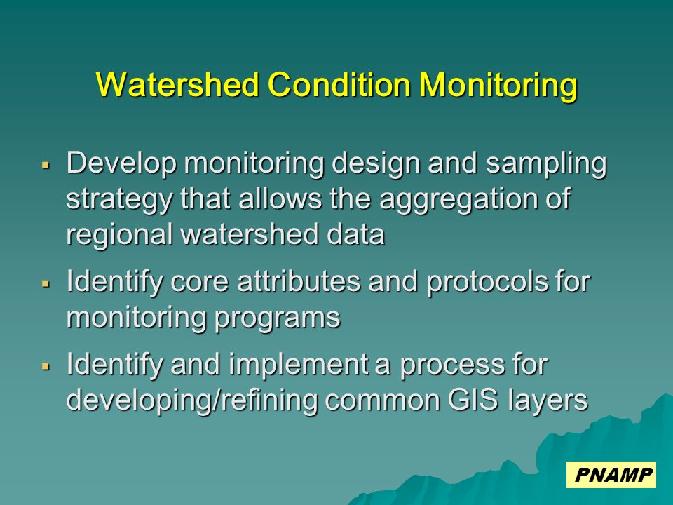 Watershed Condition Monitoring Develop monitoring design and sampling strategy that allows the aggregation of regional watershed data Develop monitoring design and sampling strategy that allows the aggregation of regional watershed data Identify core attributes and protocols for monitoring programs Identify core attributes and protocols for monitoring programs Identify and implement a process for developing/refining common GIS layers Identify and implement a process for developing/refining common GIS layers PNAMP