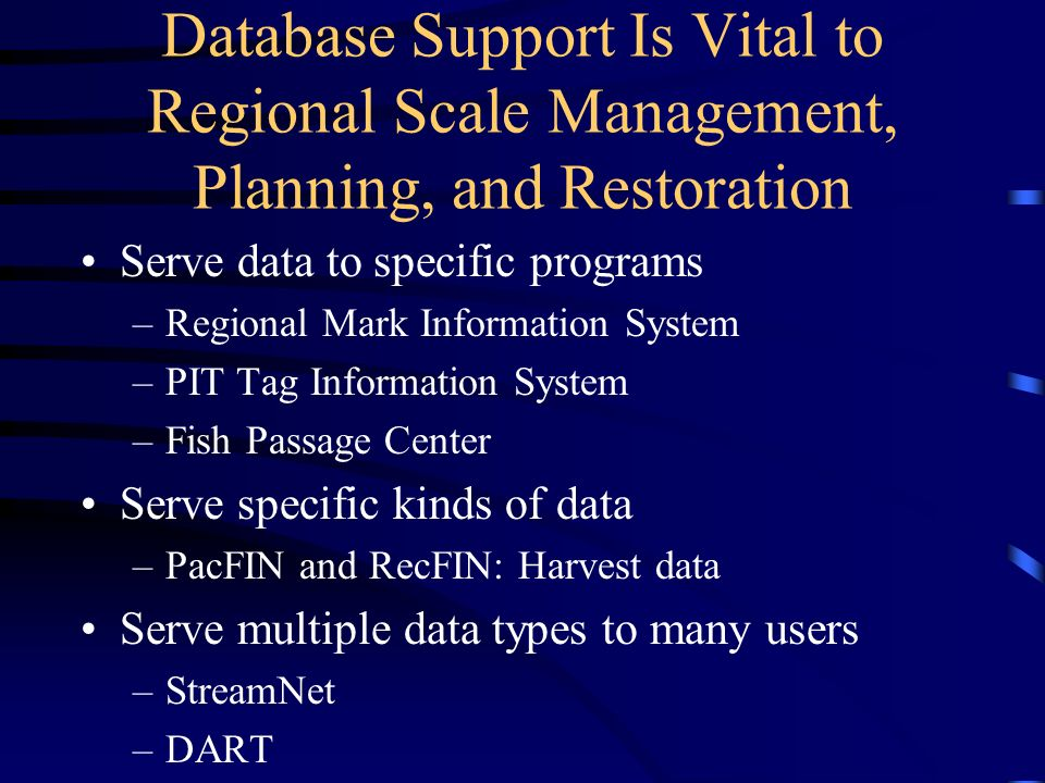 The data projects included under this program help to address many of the issues and challenges: Organize data by type for convenient access Provide similar data in one location Acquire data from many sources, sometimes those obscure to data users Provide regional standardization to overcome disparate formats, definitions and storage.