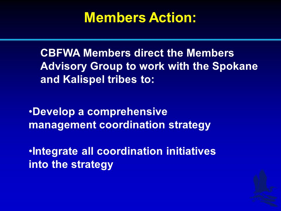 Members Action: CBFWA Members direct the Members Advisory Group to work with the Spokane and Kalispel tribes to: Develop a comprehensive management co