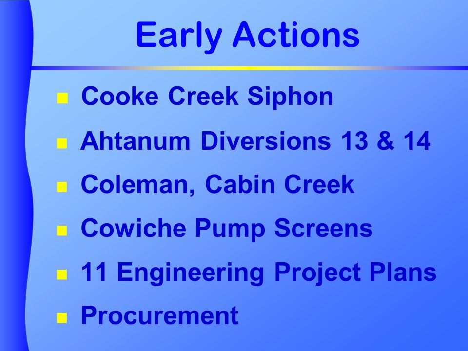 Early Actions Cooke Creek Siphon Ahtanum Diversions 13 & 14 Coleman, Cabin Creek Cowiche Pump Screens 11 Engineering Project Plans Procurement