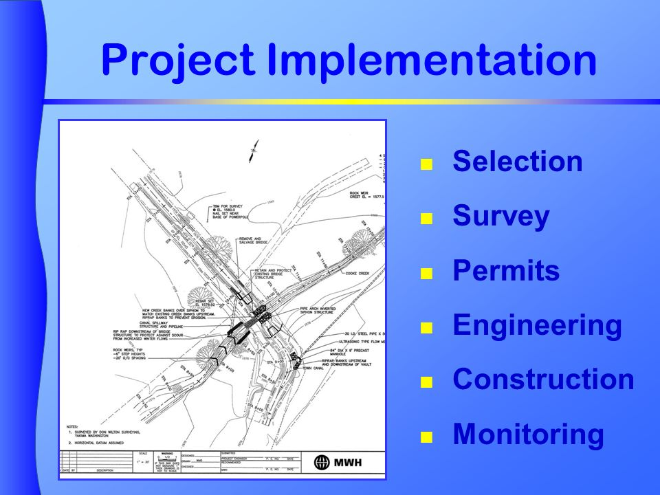 Project Implementation Selection Survey Permits Engineering Construction Monitoring