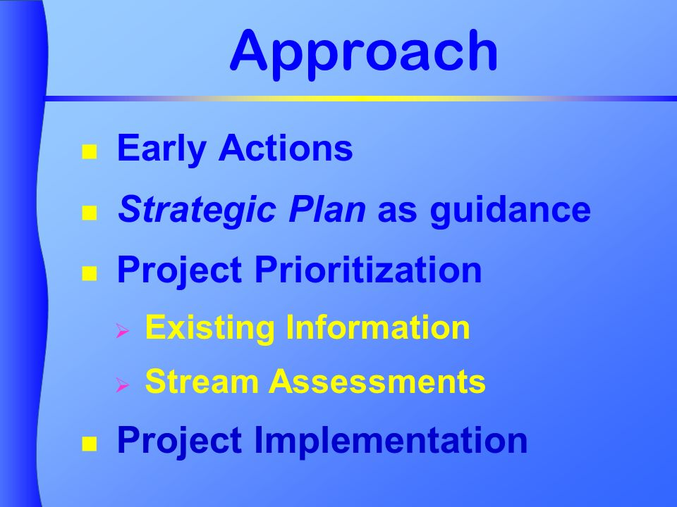 Approach Early Actions Strategic Plan as guidance Project Prioritization Existing Information Stream Assessments Project Implementation