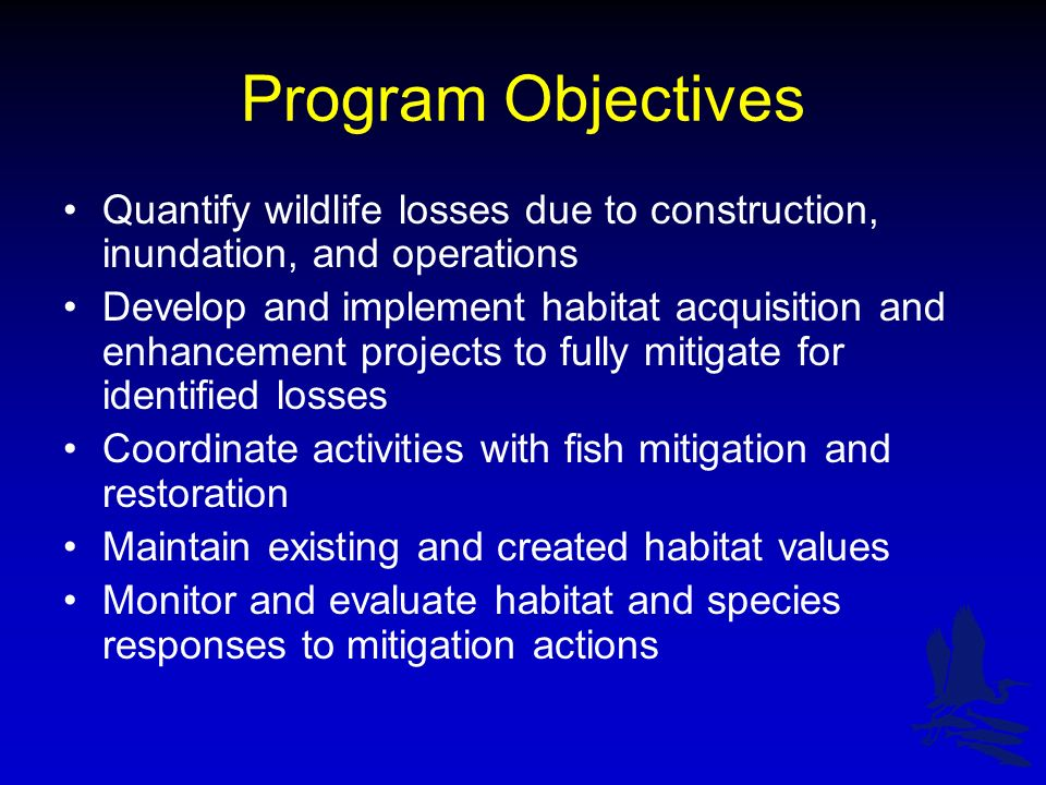 Program Objectives Quantify wildlife losses due to construction, inundation, and operations Develop and implement habitat acquisition and enhancement projects to fully mitigate for identified losses Coordinate activities with fish mitigation and restoration Maintain existing and created habitat values Monitor and evaluate habitat and species responses to mitigation actions
