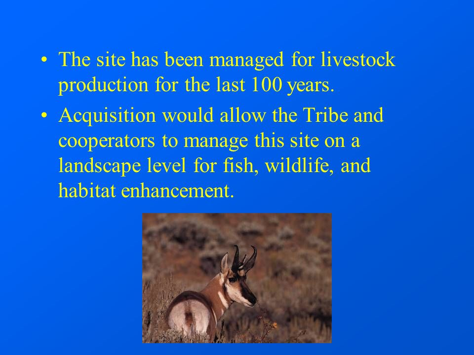 The site has been managed for livestock production for the last 100 years.