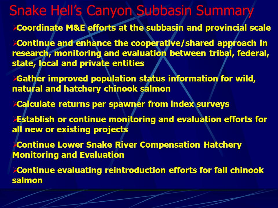 Snake Hells Canyon Subbasin Summary Coordinate M&E efforts at the subbasin and provincial scale Continue and enhance the cooperative/shared approach in research, monitoring and evaluation between tribal, federal, state, local and private entities Gather improved population status information for wild, natural and hatchery chinook salmon Calculate returns per spawner from index surveys Establish or continue monitoring and evaluation efforts for all new or existing projects Continue Lower Snake River Compensation Hatchery Monitoring and Evaluation Continue evaluating reintroduction efforts for fall chinook salmon