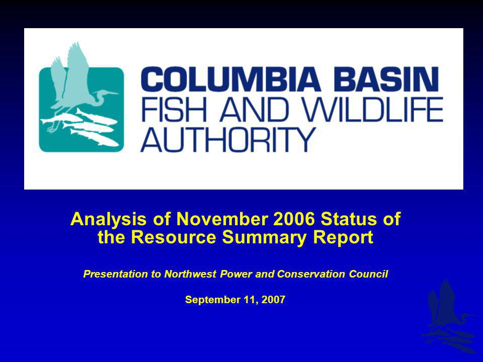 Analysis of November 2006 Status of the Resource Summary Report Presentation to Northwest Power and Conservation Council September 11, 2007