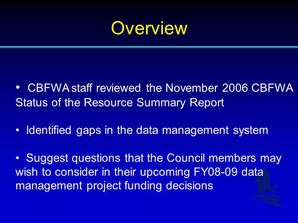 Overview CBFWA staff reviewed the November 2006 CBFWA Status of the Resource Summary Report Identified gaps in the data management system Suggest ques