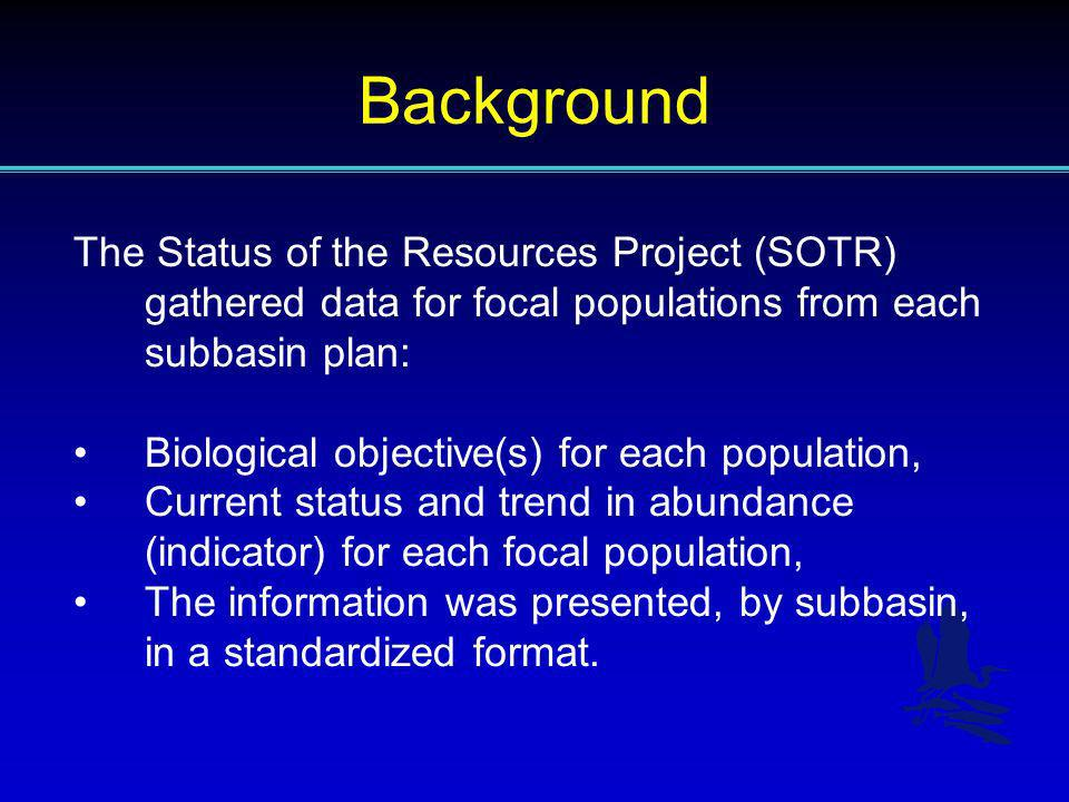 Background The Status of the Resources Project (SOTR) gathered data for focal populations from each subbasin plan: Biological objective(s) for each po