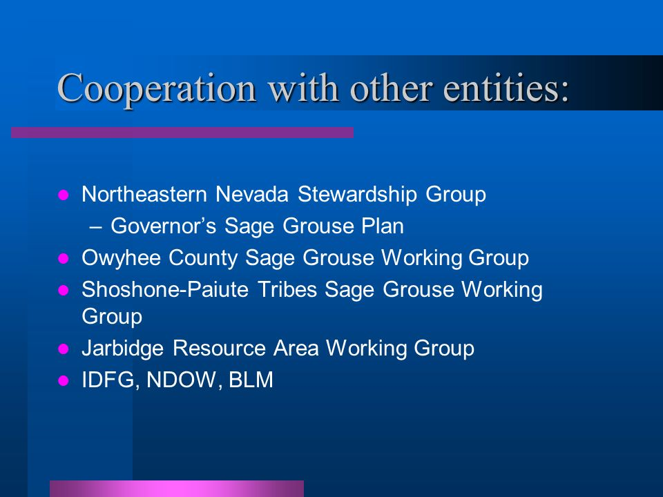 Cooperation with other entities: Northeastern Nevada Stewardship Group –Governors Sage Grouse Plan Owyhee County Sage Grouse Working Group Shoshone-Paiute Tribes Sage Grouse Working Group Jarbidge Resource Area Working Group IDFG, NDOW, BLM