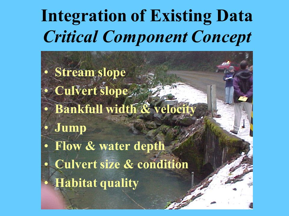 Integration of Existing Data Critical Component Concept Stream slope Culvert slope Bankfull width & velocity Jump Flow & water depth Culvert size & co