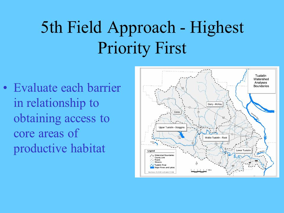 5th Field Approach - Highest Priority First Evaluate each barrier in relationship to obtaining access to core areas of productive habitat