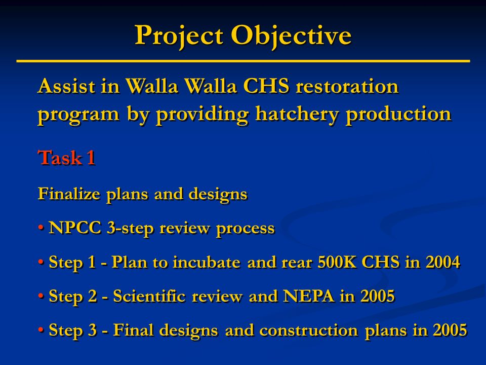 Project Objective Assist in Walla Walla CHS restoration program by providing hatchery production Task 1 Finalize plans and designs NPCC 3-step review