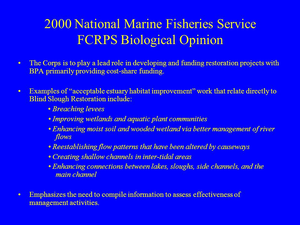 2000 National Marine Fisheries Service FCRPS Biological Opinion The Corps is to play a lead role in developing and funding restoration projects with BPA primarily providing cost-share funding.