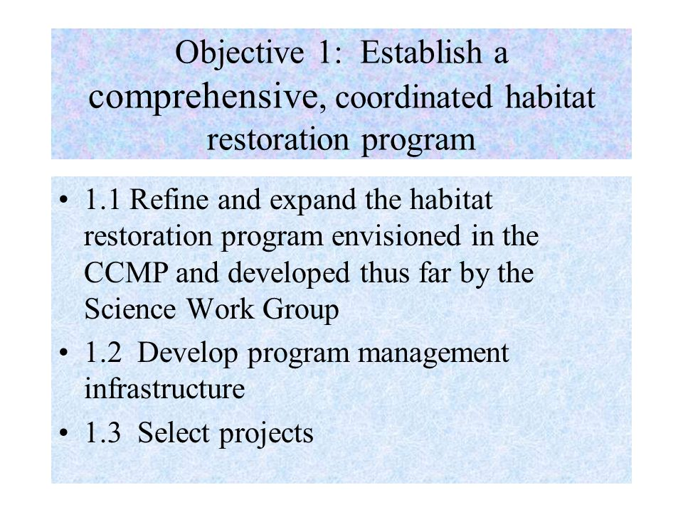 Objective 1: Establish a comprehensive, coordinated habitat restoration program 1.1 Refine and expand the habitat restoration program envisioned in the CCMP and developed thus far by the Science Work Group 1.2 Develop program management infrastructure 1.3 Select projects