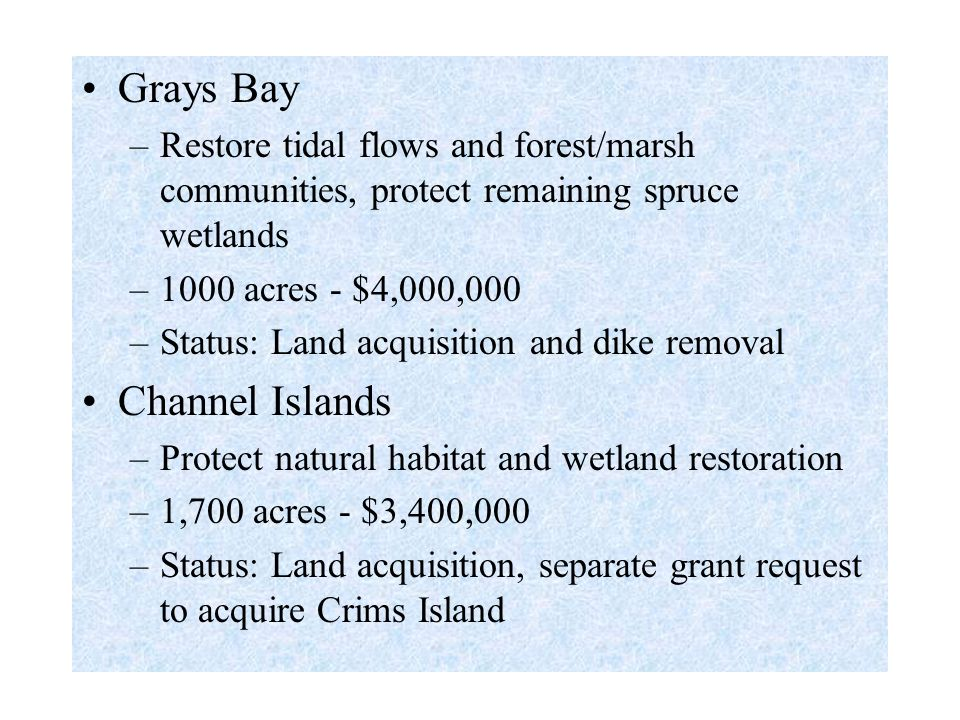 Grays Bay –Restore tidal flows and forest/marsh communities, protect remaining spruce wetlands –1000 acres - $4,000,000 –Status: Land acquisition and dike removal Channel Islands –Protect natural habitat and wetland restoration –1,700 acres - $3,400,000 –Status: Land acquisition, separate grant request to acquire Crims Island