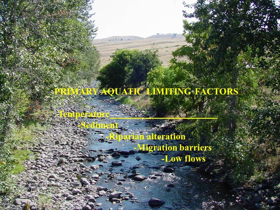 PRIMARY AQUATIC LIMITING FACTORS - Temperature -Sediment -Riparian alteration -Migration barriers -Low flows
