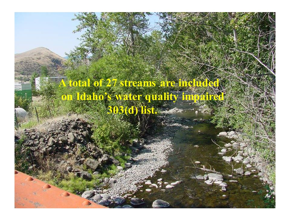A total of 27 streams are included on Idahos water quality impaired 303(d) list.