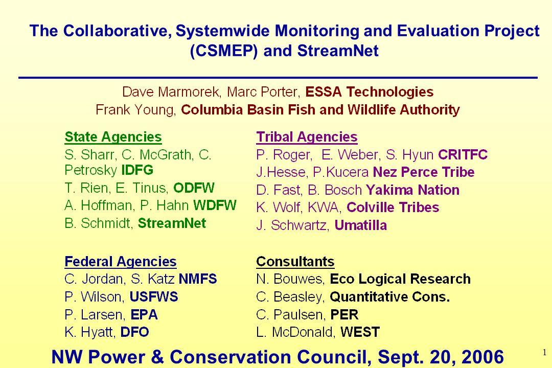 12 StreamNet Inventories feed CSMEP data assessments (on CSMEP website)