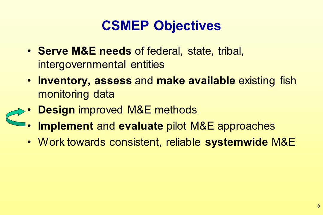 6 CSMEP Objectives Serve M&E needs of federal, state, tribal, intergovernmental entities Inventory, assess and make available existing fish monitoring data Design improved M&E methods Implement and evaluate pilot M&E approaches Work towards consistent, reliable systemwide M&E