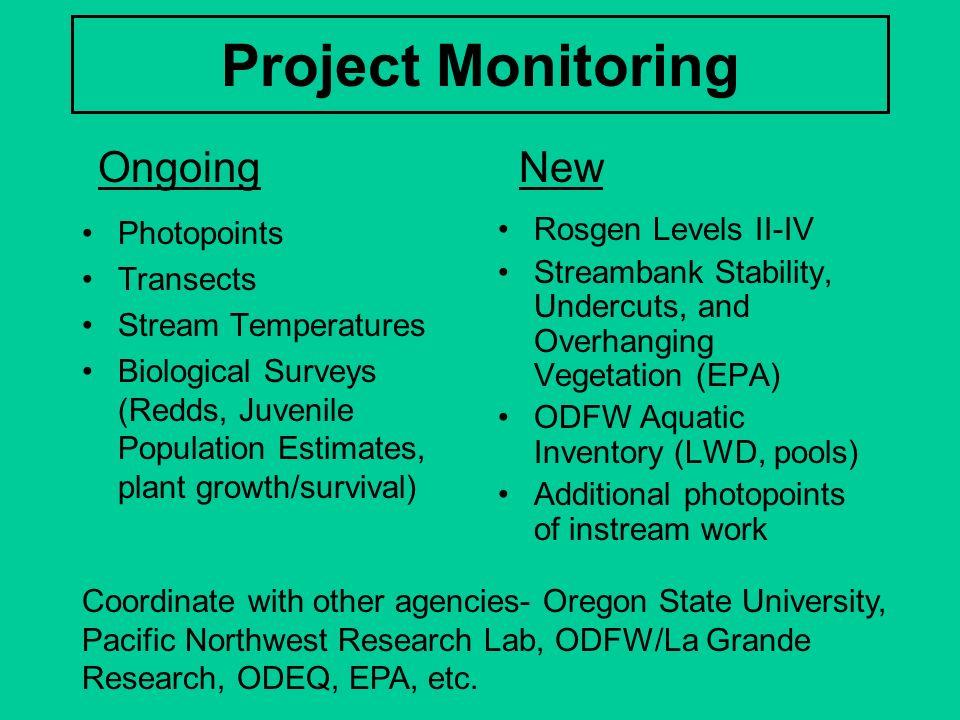 Project Monitoring Photopoints Transects Stream Temperatures Biological Surveys (Redds, Juvenile Population Estimates, plant growth/survival) Rosgen L
