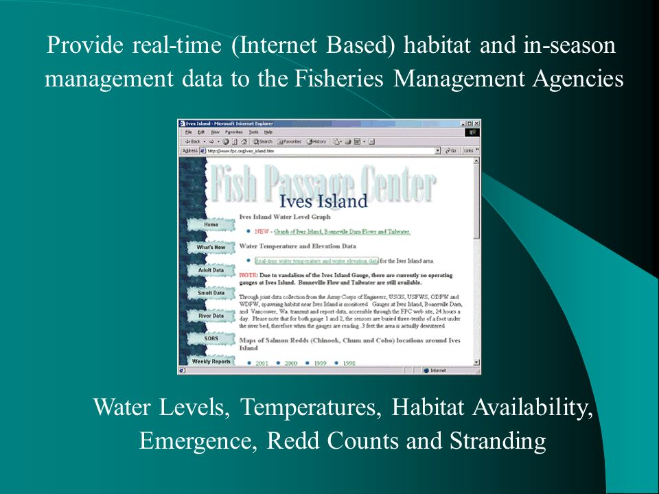 Provide real-time (Internet Based) habitat and in-season management data to the Fisheries Management Agencies Water Levels, Temperatures, Habitat Availability, Emergence, Redd Counts and Stranding