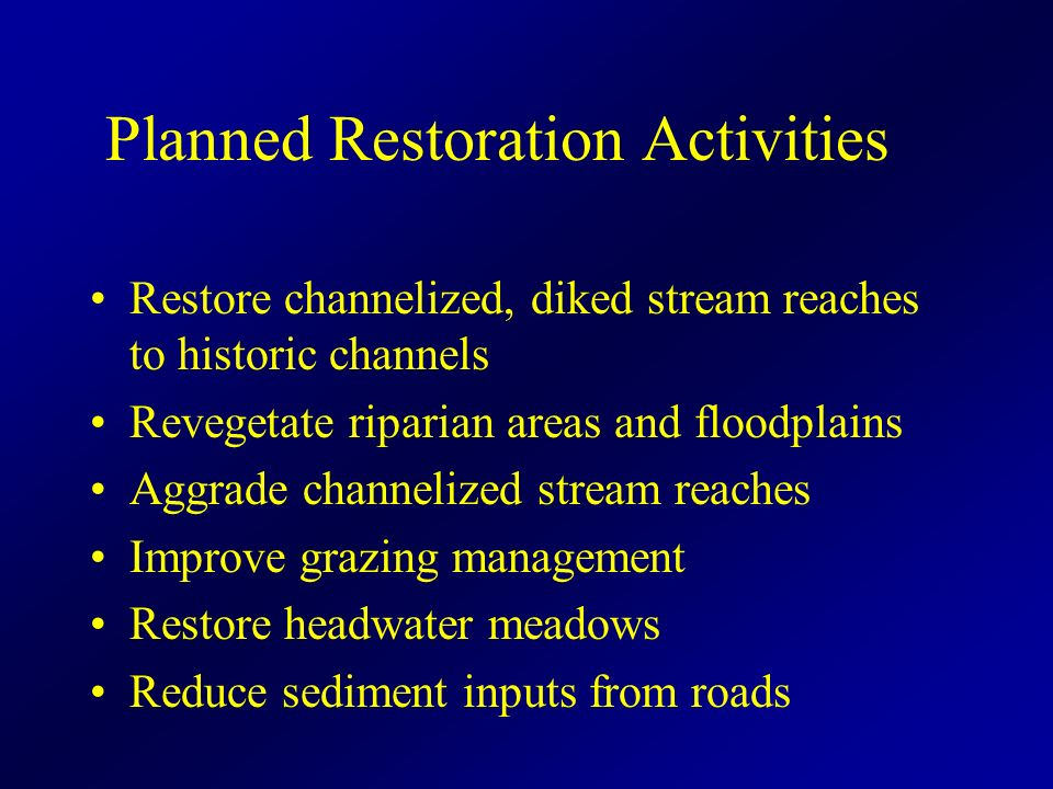 Planned Restoration Activities Restore channelized, diked stream reaches to historic channels Revegetate riparian areas and floodplains Aggrade channelized stream reaches Improve grazing management Restore headwater meadows Reduce sediment inputs from roads