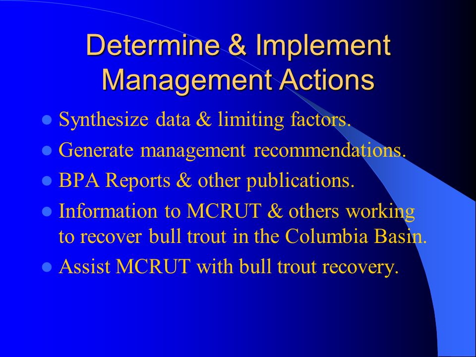 Determine & Implement Management Actions Synthesize data & limiting factors.