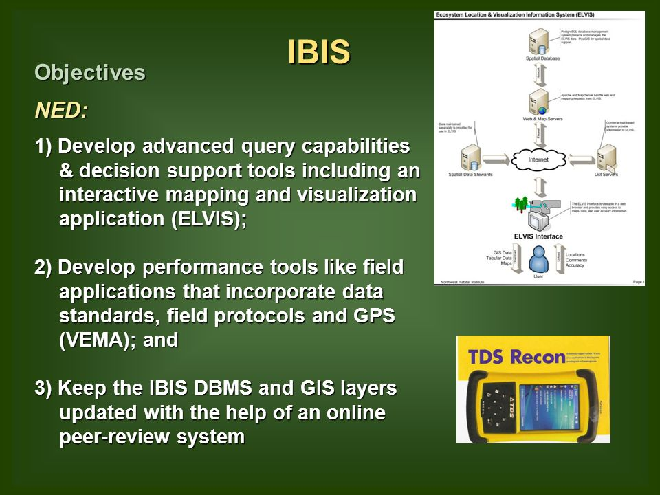 IBIS ObjectivesNED: 1) Develop advanced query capabilities & decision support tools including an interactive mapping and visualization application (ELVIS); 2) Develop performance tools like field applications that incorporate data standards, field protocols and GPS (VEMA); and 3) Keep the IBIS DBMS and GIS layers updated with the help of an online peer-review system