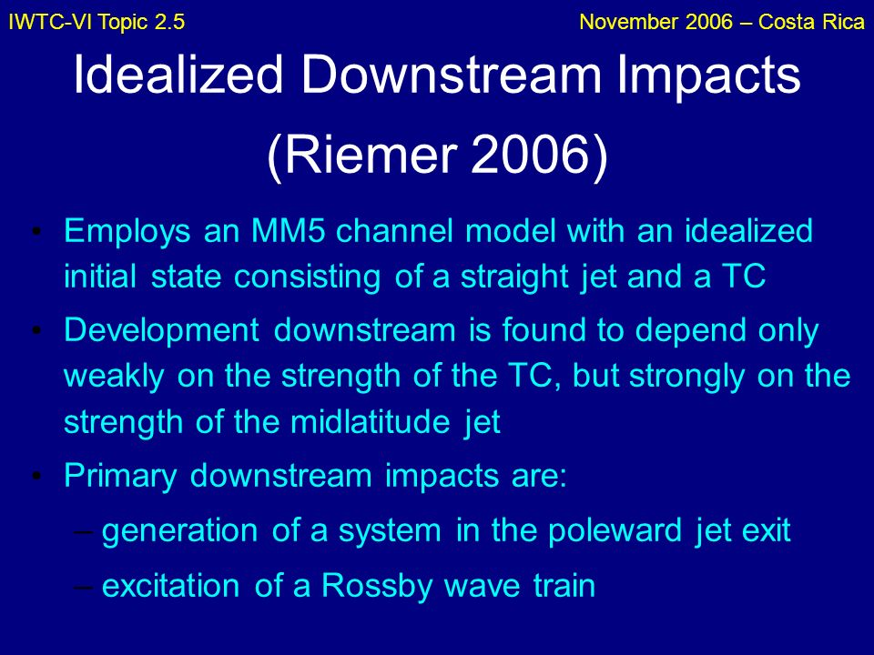 IWTC-VI Topic 2.5November 2006 – Costa Rica Idealized Downstream Impacts (Riemer 2006) Employs an MM5 channel model with an idealized initial state co
