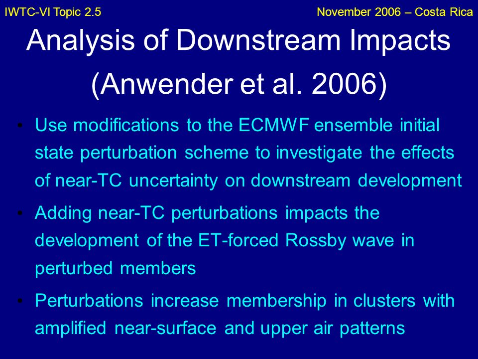 IWTC-VI Topic 2.5November 2006 – Costa Rica Analysis of Downstream Impacts (Anwender et al. 2006) Use modifications to the ECMWF ensemble initial stat
