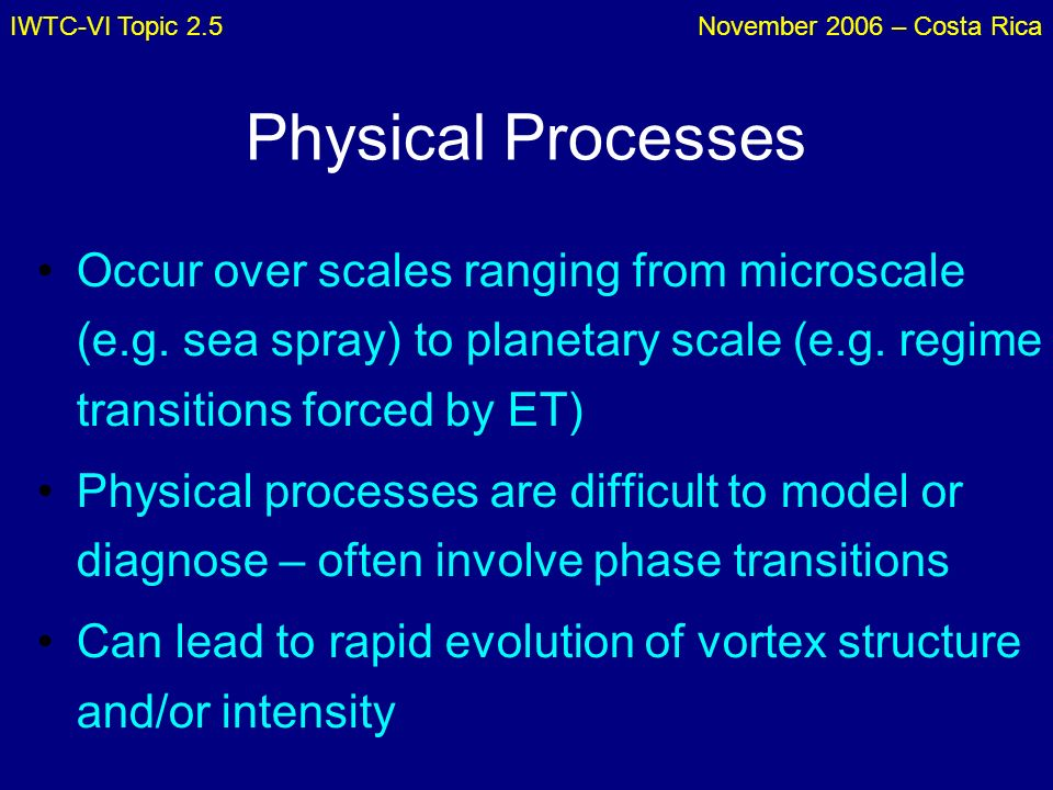 IWTC-VI Topic 2.5November 2006 – Costa Rica Physical Processes Occur over scales ranging from microscale (e.g. sea spray) to planetary scale (e.g. reg