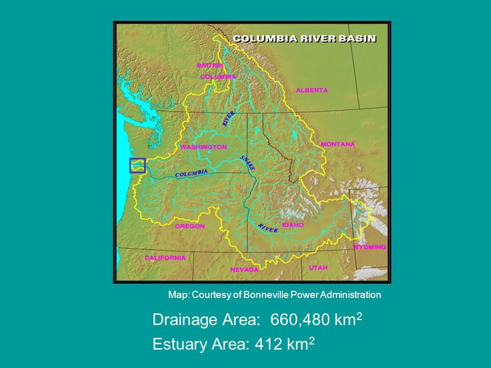 Map: Courtesy of Bonneville Power Administration Drainage Area: 660,480 km 2 Estuary Area: 412 km 2