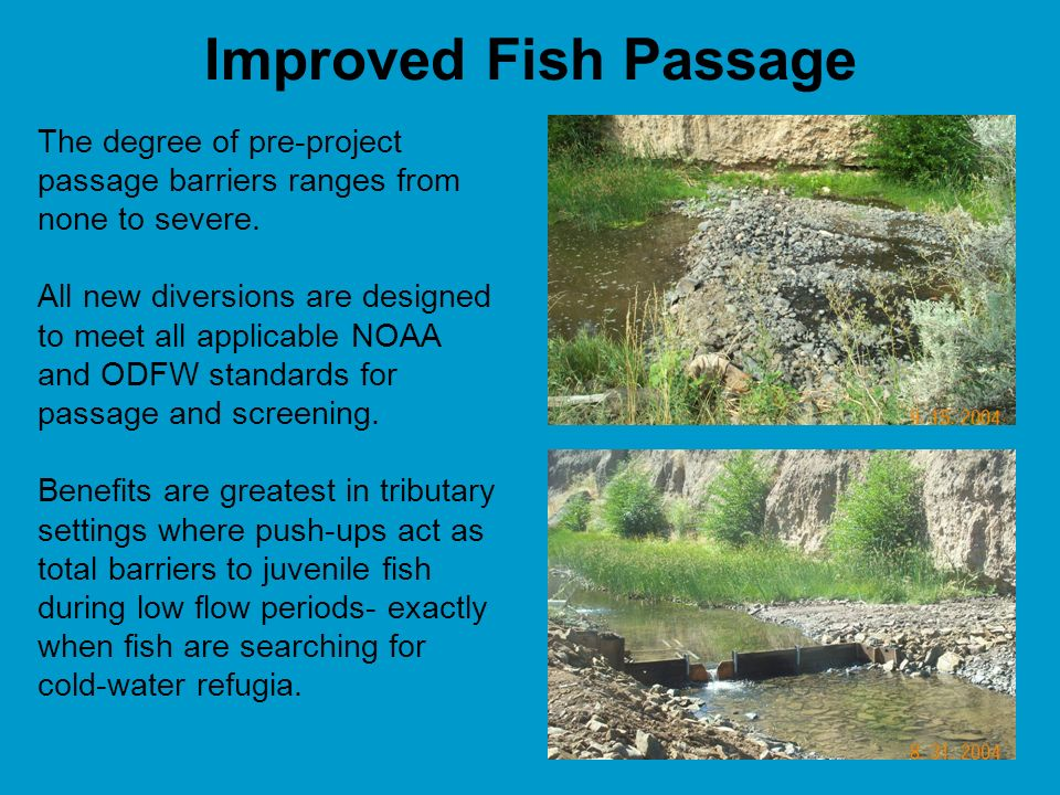 Improved Fish Passage The degree of pre-project passage barriers ranges from none to severe.