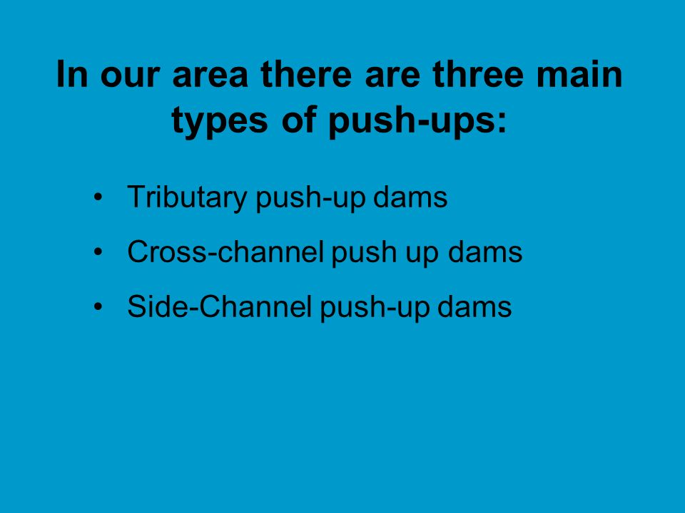 In our area there are three main types of push-ups: Tributary push-up dams Cross-channel push up dams Side-Channel push-up dams