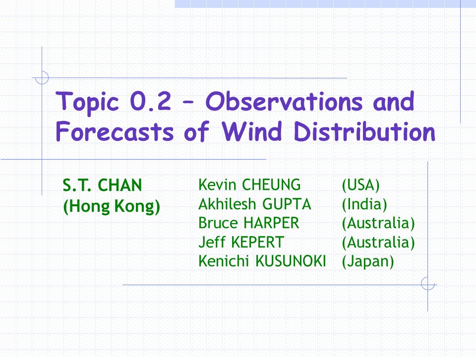 Topic 0.2 – Observations and Forecasts of Wind Distribution Kevin CHEUNG (USA) Akhilesh GUPTA (India) Bruce HARPER (Australia) Jeff KEPERT (Australia) Kenichi KUSUNOKI (Japan) S.T.
