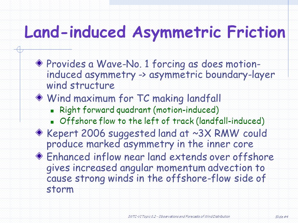 Slide #4 IWTC-VI Topic Observations and Forecasts of Wind Distribution Land-induced Asymmetric Friction Provides a Wave-No.