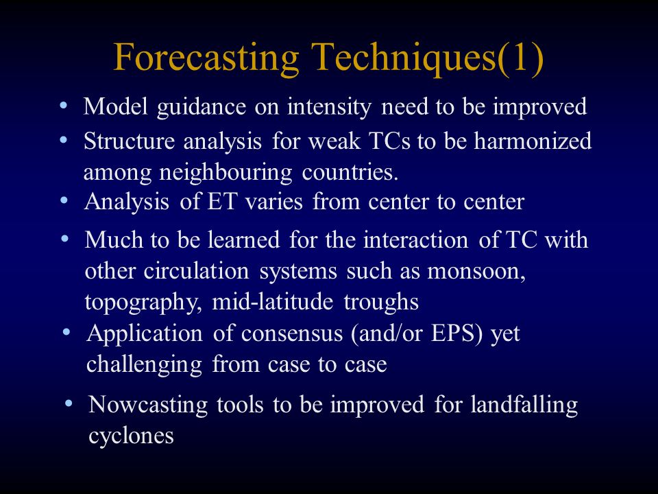 Forecasting Techniques(1) Model guidance on intensity need to be improved Structure analysis for weak TCs to be harmonized among neighbouring countries.